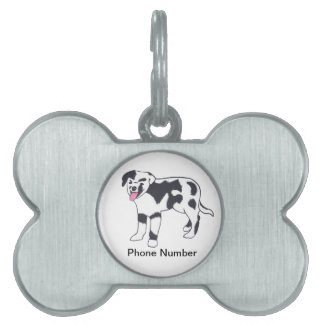 Black and White Spotted Dog Pet Tag, Phone Number Pet Tag