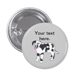Black and White Spotted Dog Your Text Buttons