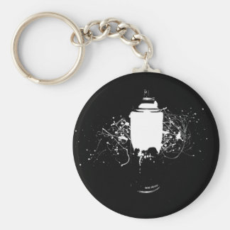 Black and White Spray Paint Can Splatter Art Basic Round Button Keychain