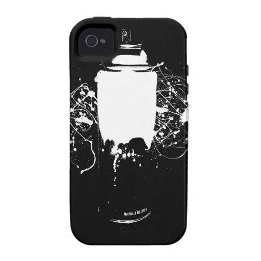 Black and white spray paint can splatter art vibe iphone 4 for Spray paint iphone case