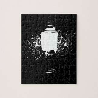 Black and White Spray Paint Can Splatter Art Jigsaw Puzzle