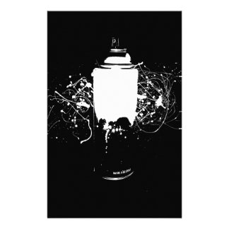 Black and White Spray Paint Can Splatter Art Stationery