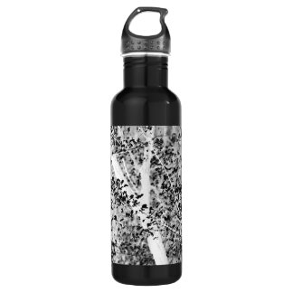 Black and White Spring Foliage Customizable Stainless Steel Water Bottle