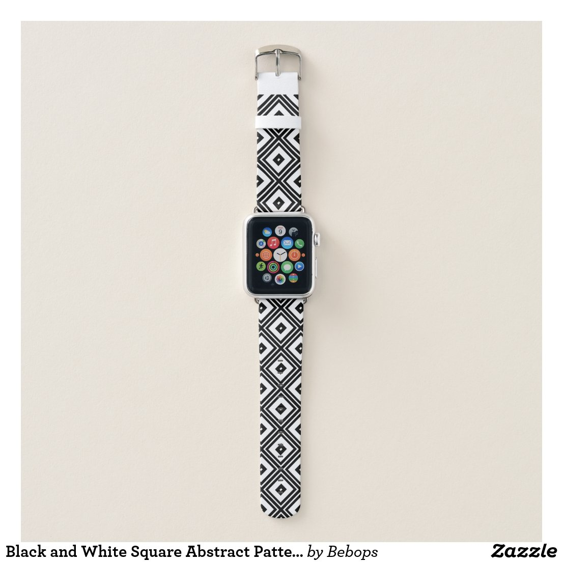 Black and White Square Abstract Pattern Apple Watch Band