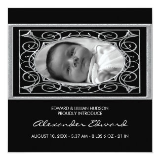 Black and White Square Baby Birth Announcement