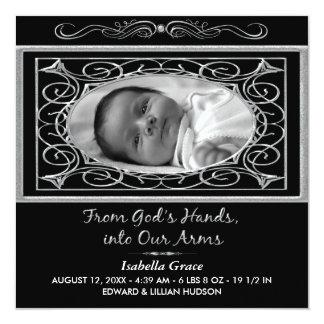 Black and White Square Birth Annoucement Custom Invites