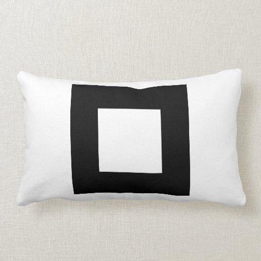 White Square Throw Pillows : Black and White Square Design. Throw Pillow Zazzle