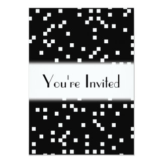 Black and White Square Dots Pattern. Card