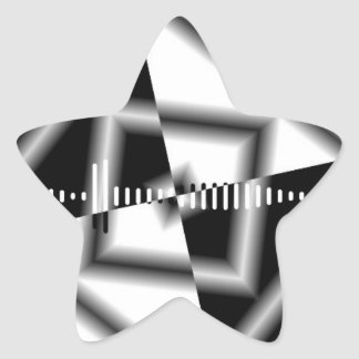 Black And White Square Inverted Graphic Star Sticker