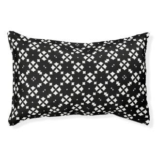 Black and White Square on Diamond Pattern Small Dog Bed