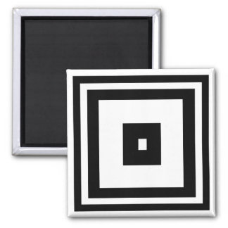 Black and White Squares 2 Inch Square Magnet