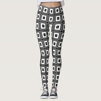 Black and White Squares Abstract Pattern Leggings