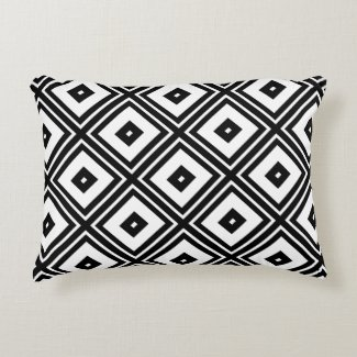 Black and White Squares Accent Pillow