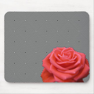 Black and White Squares and Pink Rose Mouse Pad