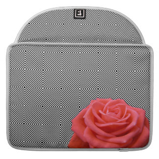 Black and White Squares and Pink Rose Sleeve For MacBooks