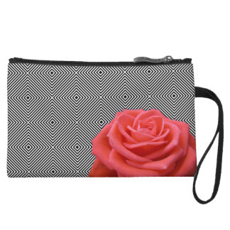 Black and White Squares and Pink Rose Wristlet Clutches