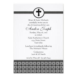 Black and White Squares Cross Invitation