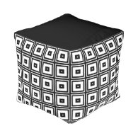 Black and White Squares Cube Pouf
