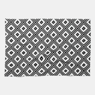 Black and White Squares Hand Towels