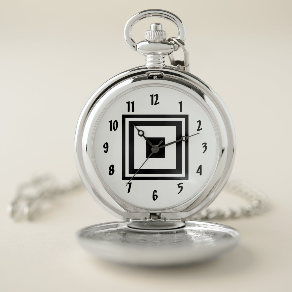 Black and White Squares Pattern Pocket Watch
