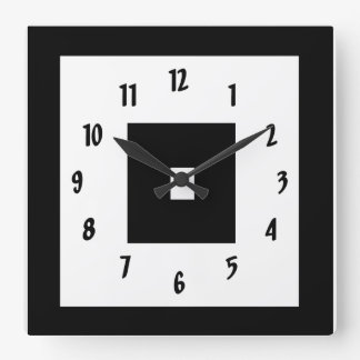 Black and White Squares Square Wall Clock