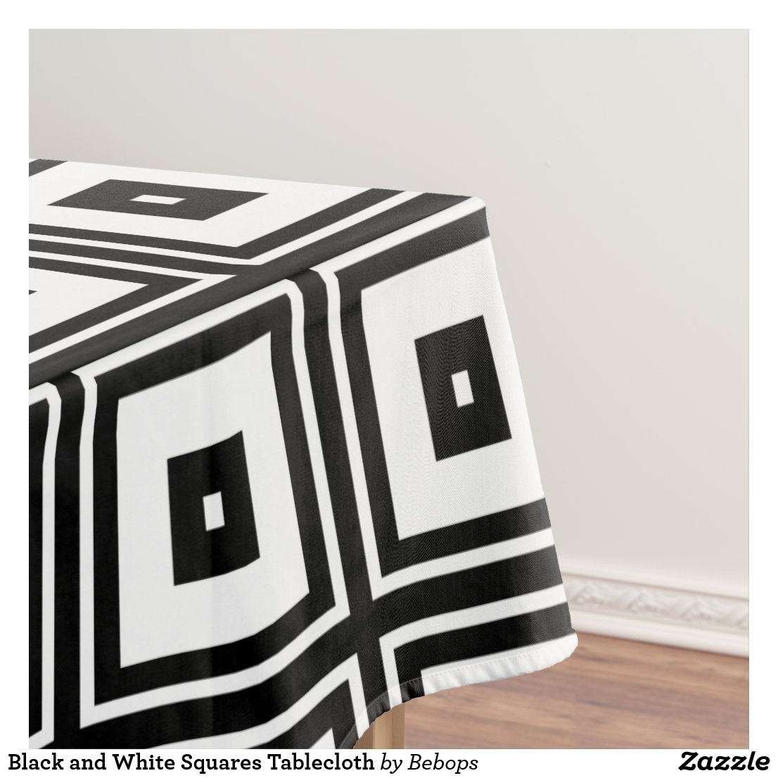 Black and White Squares Tablecloth