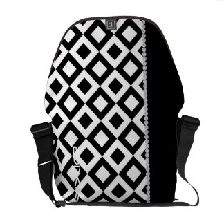black and white squares with diamonds and name courier bag