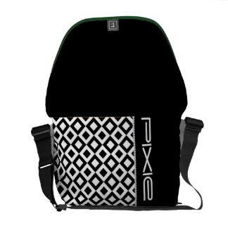 black and white squares with diamonds and name messenger bag