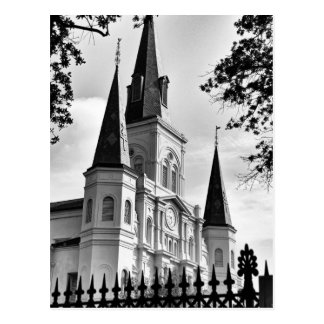 Black and White St. Louis Cathedral New Orleans Postcard