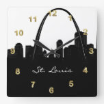 Black and White St. Louis Skyline Square Wall Clock