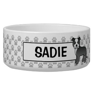 Black And White Staffordshire Bull Terrier & Name Bowl