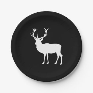 Black and White Stag Party Bachelor's Party Paper Plate