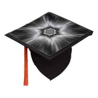 Black and White Star Burst Graduation Cap Topper