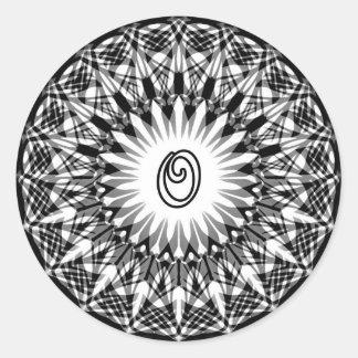 Black and White Star Flower Monogram O Classic Round Sticker