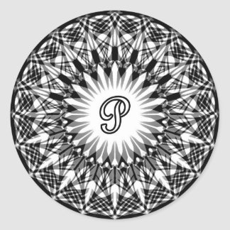 Black and White Star Flower Monogram P Classic Round Sticker