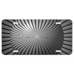 Black and White Star Globe License Plate