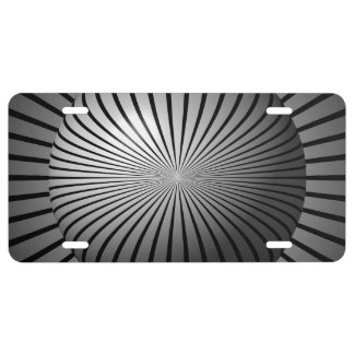 Black and White Star Globe License Plate