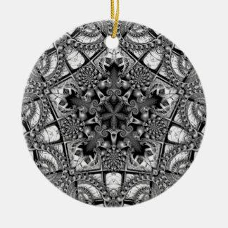 Black and White Star in a Pentagon Ceramic Ornament