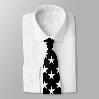 Black and White Star Pattern Tie