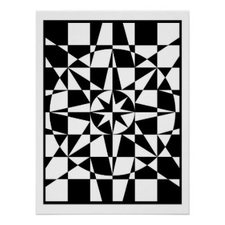 Black and white star poster