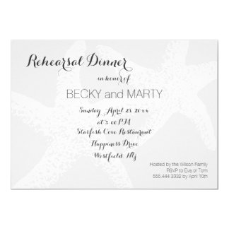 Black and White Starfish Beach Rehearsal Dinner Card