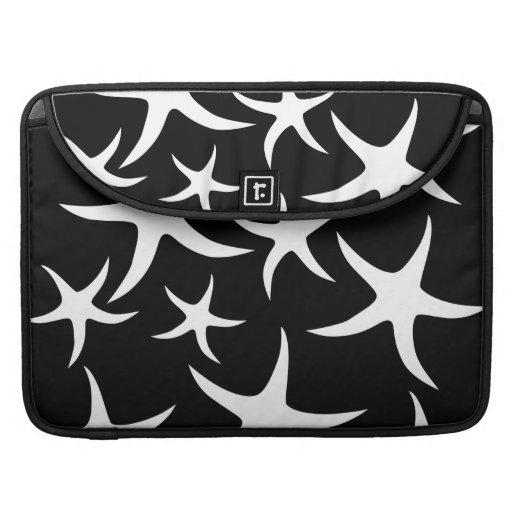 Black and White Starfish Pattern. Sleeve For MacBooks