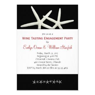Black and White Starfish Wedding Shower Invitation