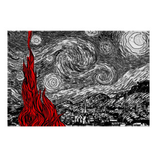 Black and White Starry Night Poster