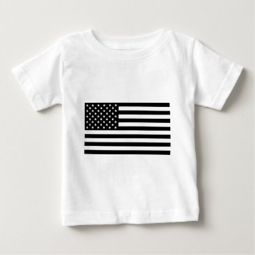 USA Themed Black And White Stars And Stripes Baby T-Shirt