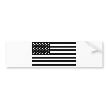 USA Themed Black And White Stars And Stripes Bumper Sticker