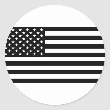 USA Themed Black And White Stars And Stripes Classic Round Sticker