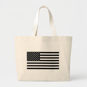 USA Themed Black And White Stars And Stripes Large Tote Bag