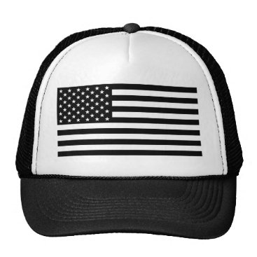 USA Themed Black And White Stars And Stripes Trucker Hat