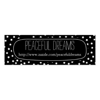 Black and White Stars Double-Sided Mini Business Cards (Pack Of 20)